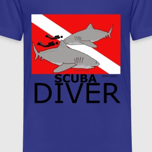 Scuba Divers with Sharks - Toddler Premium T-Shirt