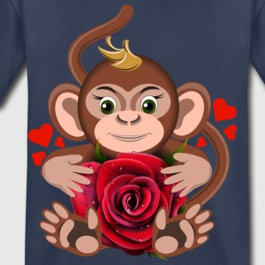 monkey-Valentine-s-Day-rose-flower-animal-love - Toddler Premium T-Shirt