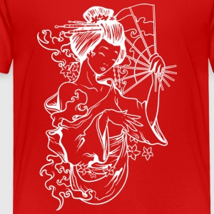 japanese_geisha_with_fan_while - Toddler Premium T-Shirt