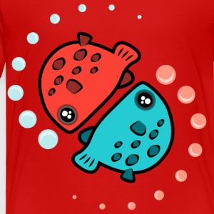 Kawaii Red Fish Blue Fish Pattern - Toddler Premium T-Shirt