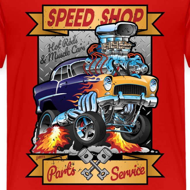 Speed Shop Hot Rod Muscle Car Cartoon Illustration