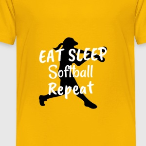 Cool Eat Sleep Softball Repeat Novelty Humor Shirt - Toddler Premium T-Shirt