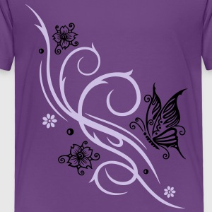 Cherry blossoms with butterfly and Tribal ornament - Toddler Premium T-Shirt