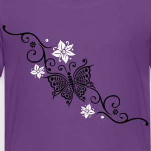Butterfly with Tribal ornament and flowers - Toddler Premium T-Shirt