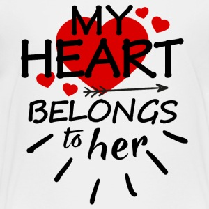 My heart belongs to her (black text) - Kids' Premium T-Shirt