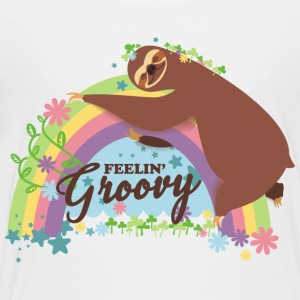 Retro rainbow funny sloth feelin groovy - Kids' Premium T-Shirt