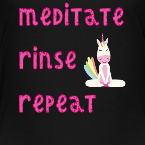Meditate Rinse Repeat with Meditating Unicorn - Kids' Premium T-Shirt