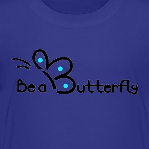 Be a Butterfly logo in blue - Kids' Premium T-Shirt