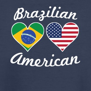 Brazilian American Flag Hearts - Kids' Premium T-Shirt