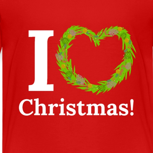 I Love Heart Christmas - Xmas Wreath Design! - Kids' Premium T-Shirt