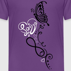 Heart with lettering, butterfly and infinity - Kids' Premium T-Shirt