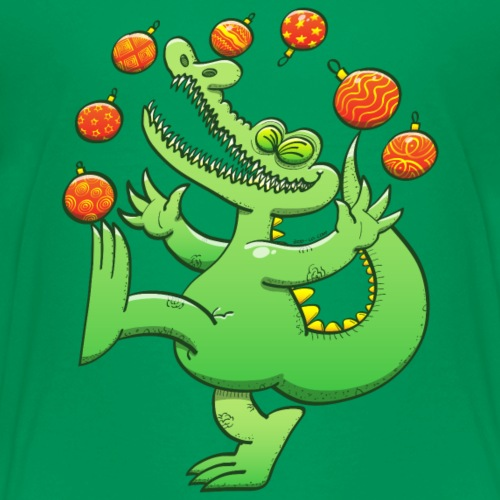 Alligator Juggling Christmas Balls - Kids' Premium T-Shirt
