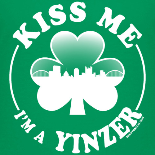 Kiss Me I'm a Yinzer (White on Green) - Kids' Premium T-Shirt