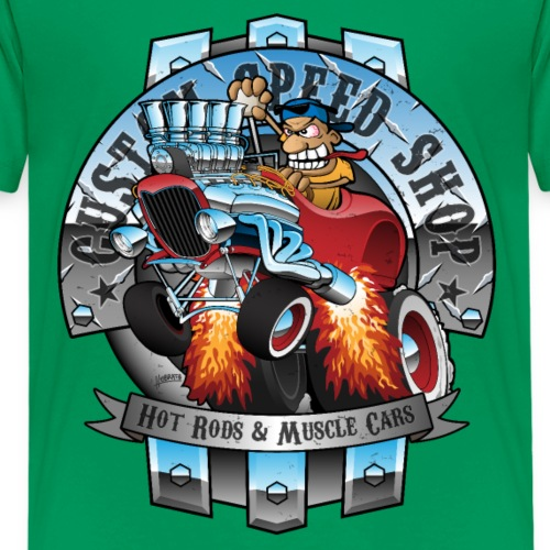 Custom Speed Shop Hot Rods and Muscle Cars Illustr - Kids' Premium T-Shirt