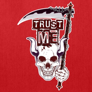 Trust Me - Funny Skull with Scythe and Chain - Tote Bag