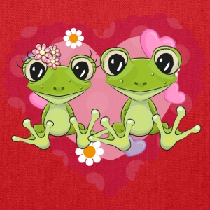 frog love heart romantic flowers - Tote Bag