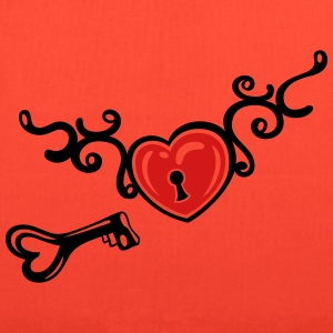 Heart with tribal, key and lock, tattoo art. - Tote Bag