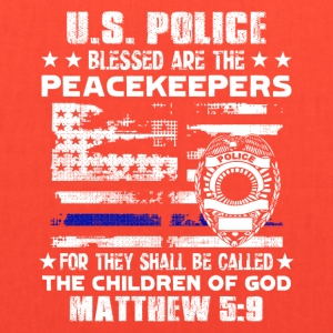 US POLICE BLESSED ARE PEACEKEEPERS TEE SHIRT - Tote Bag