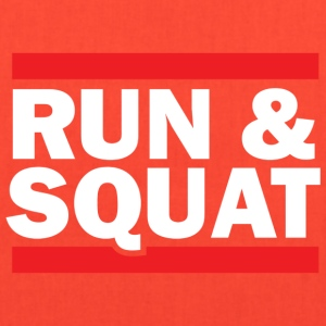 Run Squat White on Dark by Epic Greetings - Tote Bag
