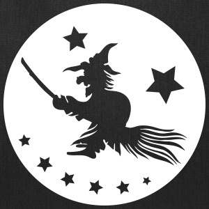 Halloween witch on a broom. Full moon time. - Tote Bag