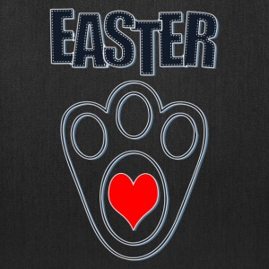 Easter Bunny Footprints, Easter Heart Bunny - Tote Bag