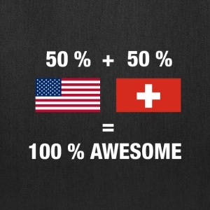 Half Swiss Half American 100% Switzerland Flag - Tote Bag