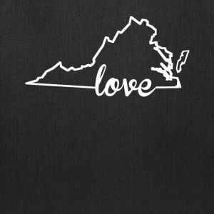 Virginia Love State Outline - Tote Bag