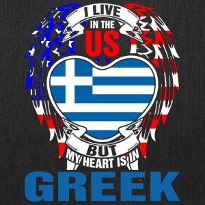 I Live In The Us But My Heart Is In Greek - Tote Bag