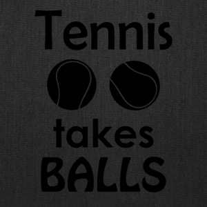 Tennis Takes Balls Funny Tennis Player Tee Shirt - Tote Bag