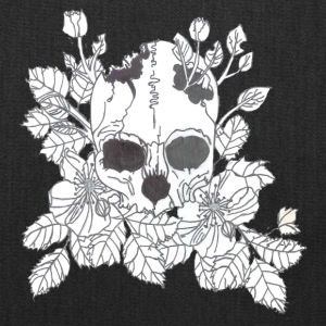 Black and White Flower Skull - Tote Bag