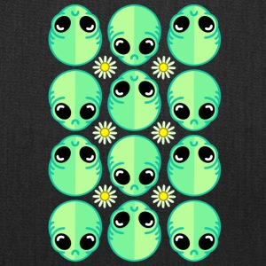 Sad Alien and Daisy Nineties Grunge Pattern - Tote Bag