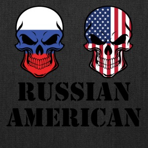 Russian American Flag Skulls - Tote Bag