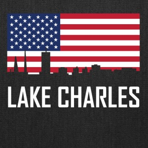 Lake Charles Louisiana Skyline American Flag - Tote Bag
