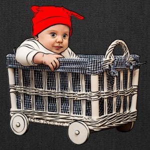 adorable beautiful baby boy in a basket - Tote Bag
