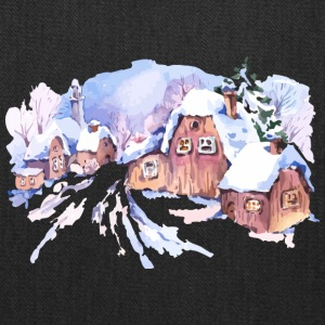 winter-watercolor-landscape-painting-house - Tote Bag