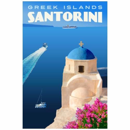 Vintage Santorini Travel Poster - Tote Bag