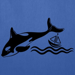 Big Whale and a small boat on the sea - Tote Bag
