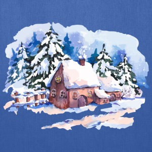 watercolor-landscape-winter-painting-house-trees - Tote Bag