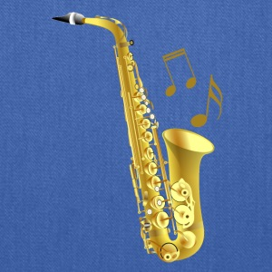 Saxophone with music notes - Tote Bag