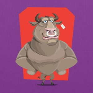 Angry Bull with Nose Piercing Vector Artwork - Tote Bag