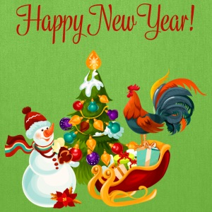 Happy-New-Year-Snowman-holidays-cock-cartoon - Tote Bag
