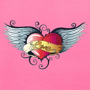 Big heart with wings, Tattoo Style. - Tote Bag