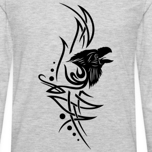 Tribal, tattoo with raven head. - Men's Premium Long Sleeve T-Shirt