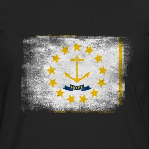 Rhode Island State Flag Distressed Vintage Shirt - Men's Premium Long Sleeve T-Shirt