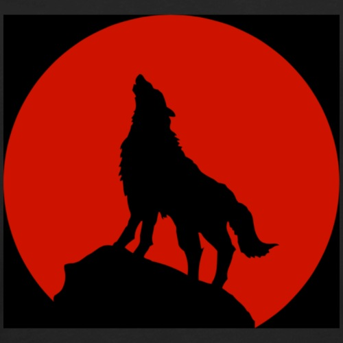 WolfPack Red Moon Design | Tiggah The Rapper - Men's Premium Long Sleeve T-Shirt