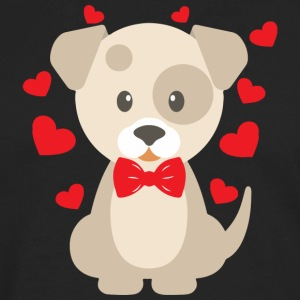 Cartoon dog with tie and heart - Men's Premium Long Sleeve T-Shirt