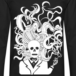 smoking skeleton white - Men's Premium Long Sleeve T-Shirt