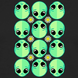 Sad Alien and Daisy Nineties Grunge Pattern - Men's Premium Long Sleeve T-Shirt