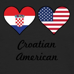 Croatian American Flag Hearts - Men's Premium Long Sleeve T-Shirt