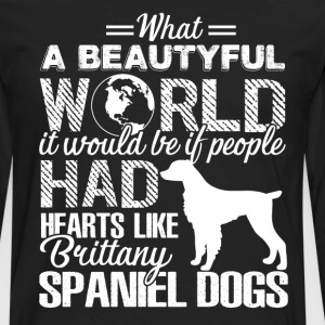 Hearts Like Brittany Spaniel Dogs Shirt - Men's Premium Long Sleeve T-Shirt